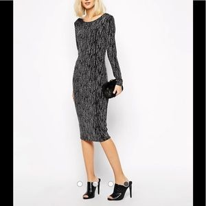 River island long sleeve silver glitter midi dress